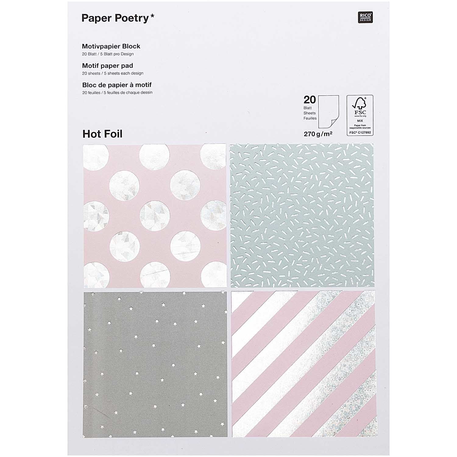 Rico NAY PAPERPAD FOIL, HOLOGRAPHIC FSC MIX 20 SHEETS, 270G