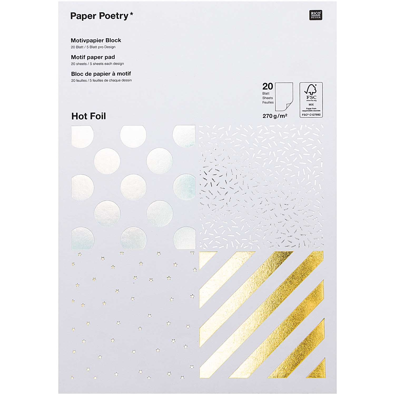 Rico NAY PAPER PAD FOIL, STRIPS FSC MIX 20 SHEETS, 270G