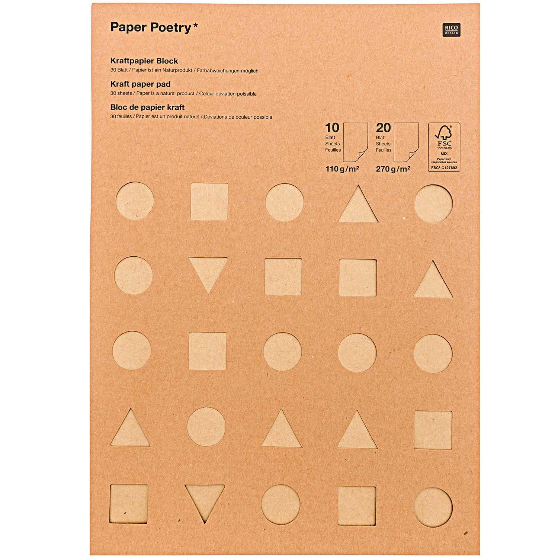 Rico NAY KRAFT PAPER PAD FSC MIX DIN A4, 30 SHEETS