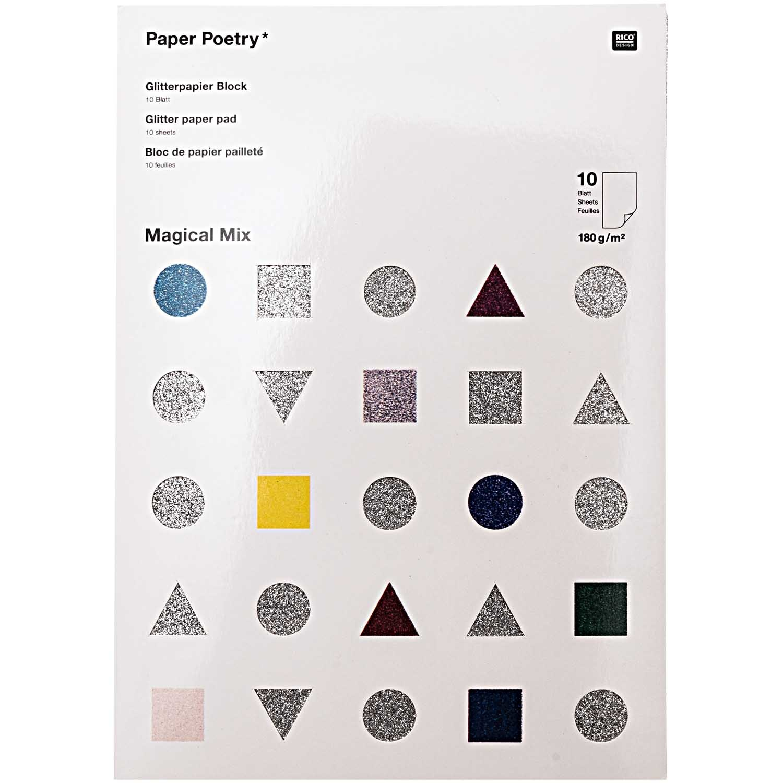 Rico NAY GLITTER PAPER PAD, MAGICAL MIX 10 SHEETS, 210X295 MM, 180 G