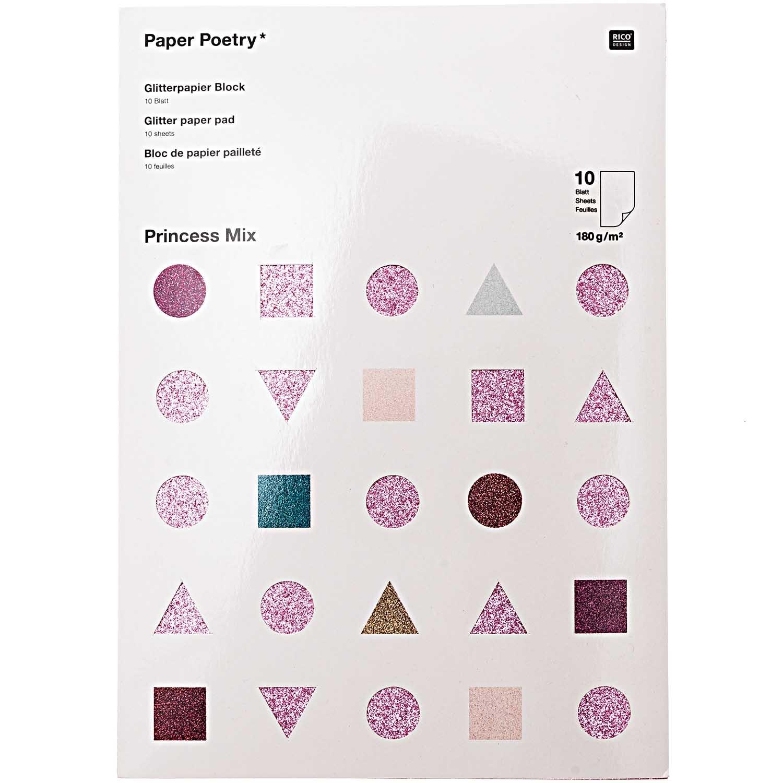 Rico NAY GLITTER PAPER PAD, PRINCESS MIX 10 SHEETS, 210X295 MM, 180 G