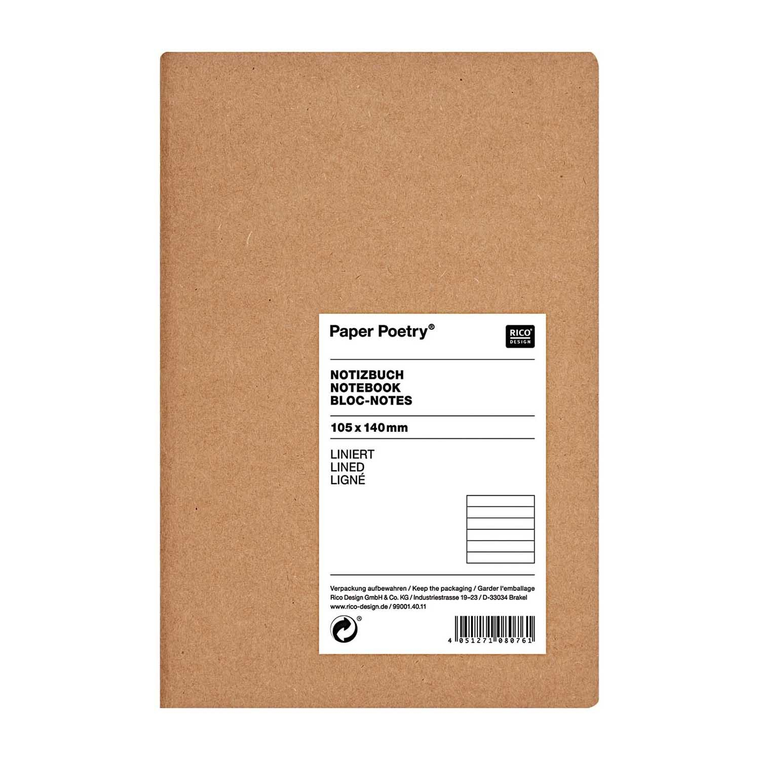 Rico NAY NOTEBOOK KRAFT, LINED FSC MIX  105 X 140 MM, 40 SHEETS, 80 G