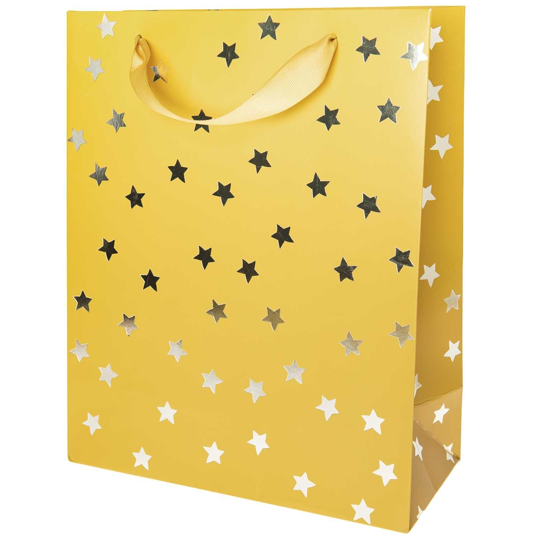 Rico NAY GIFT BAG, STARS, MUSTARD, FSC MIX  L, 26 X 32 X 12 CM, HOT FOIL