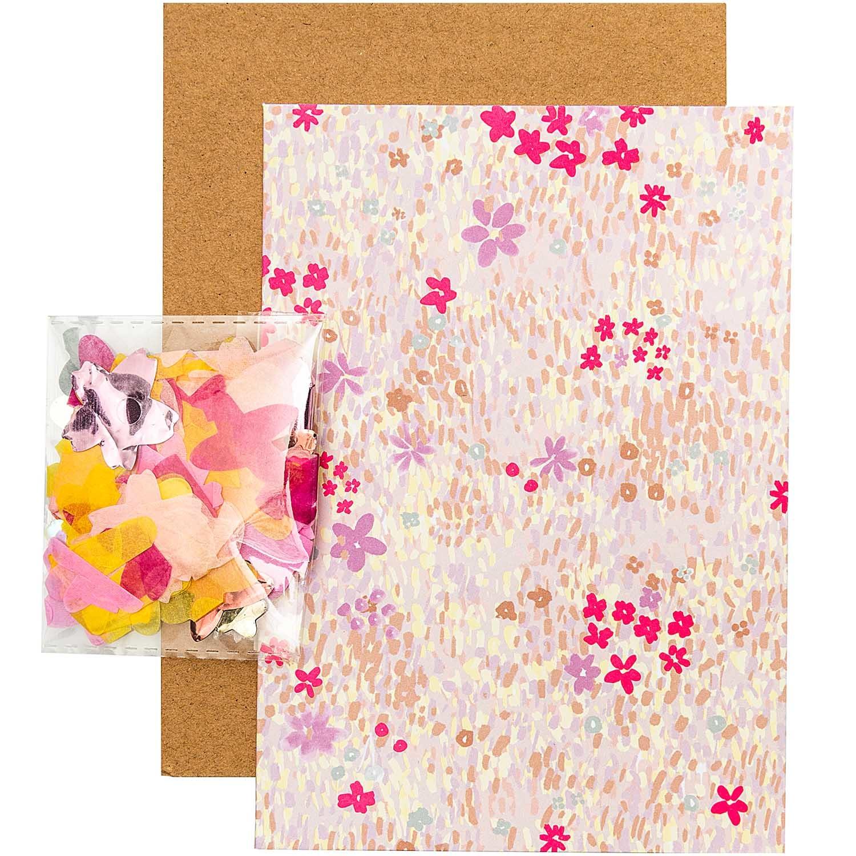 Rico NAY DIY CARD, FLOWER MEADOW, PINK  CARD/ENVELOPE/CONFETTI/STICKER