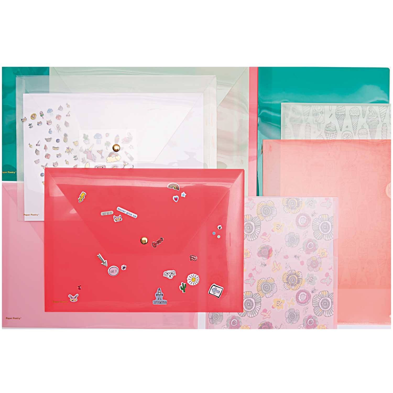 Rico NAY CLEAR FOLDER, NEON PINK 22 X 31 CM
