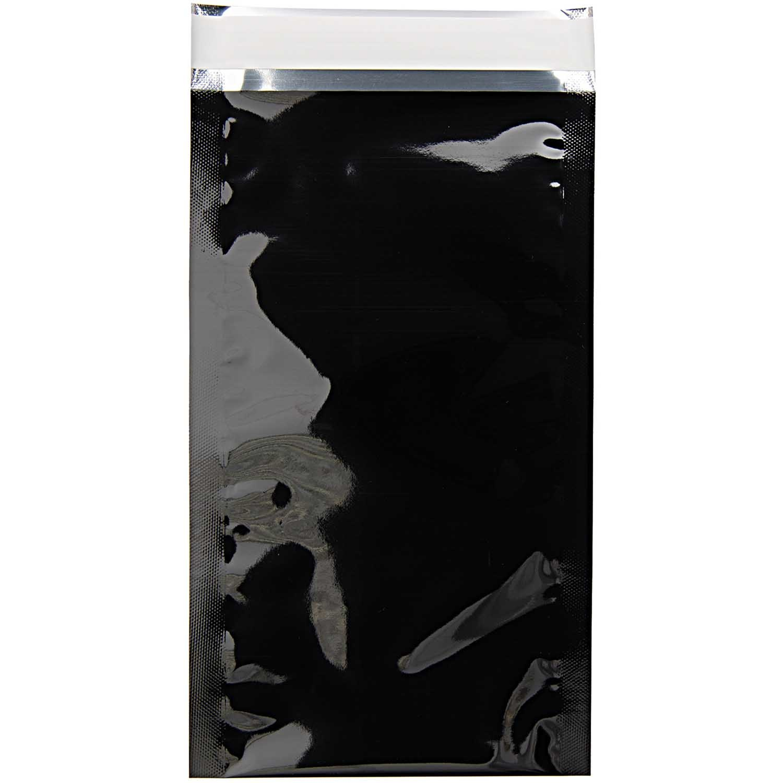 Rico NAY METALLIC MAILING BAG DL, BLACK5PCS, INSIDE 11X22/OUTSI 13X22