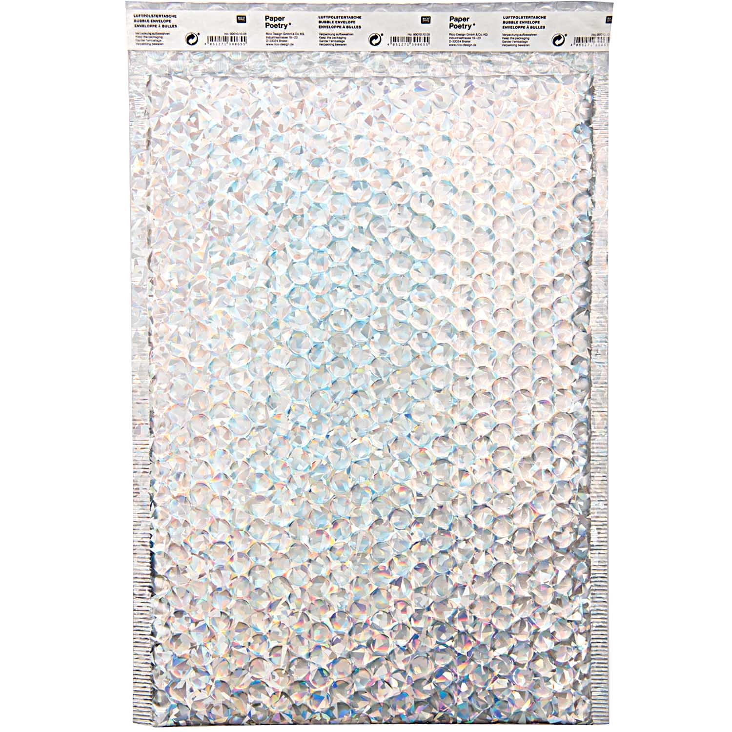 Rico NAY BUBBLE ENVELOPE C4, HOLOGRAPHIC INSIDE 23X34CM/OUTSIDE 25X34CM
