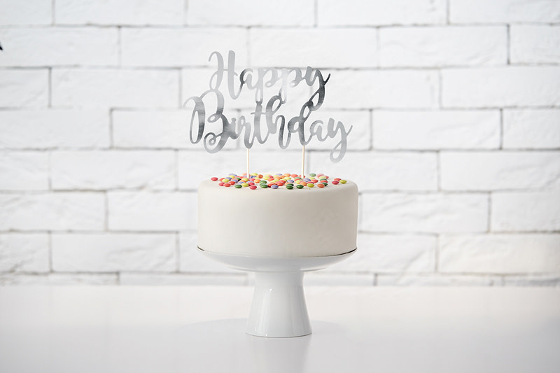 PD Cake topper Happy Birthday, silver, 22.5cm