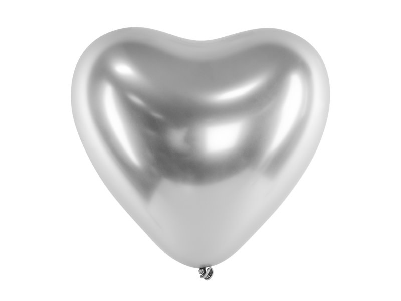 PD Glossy Balloons 30cm, Hearts, silver (1 pkt / 50 pc.)