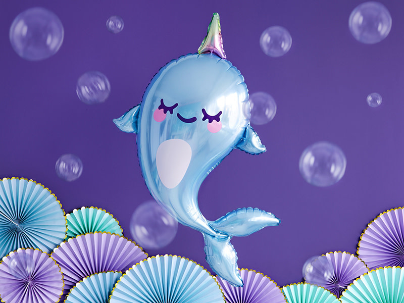 PD Foil balloon Narwhal, 53x87cm, mix