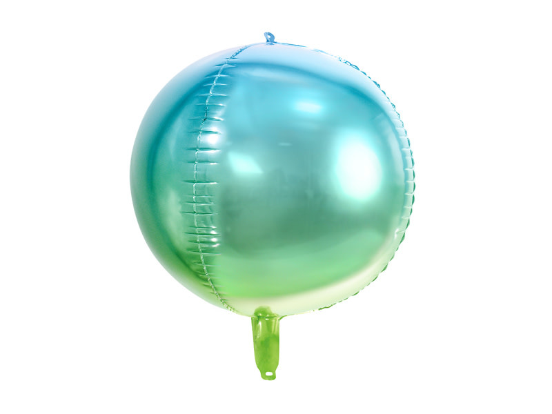 PD Foil Balloon Ombre Ball, blue and green, 35cm