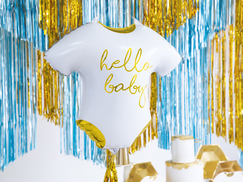 PD Foil balloon Baby romper - Hello Baby, 51x45cm, white