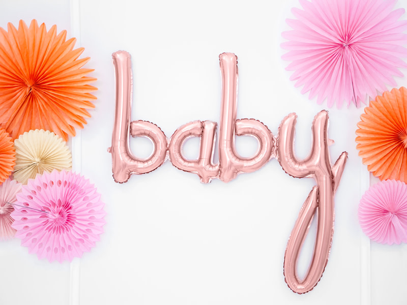 PD Foil balloon Baby, rose gold, 73.5x75.5cm