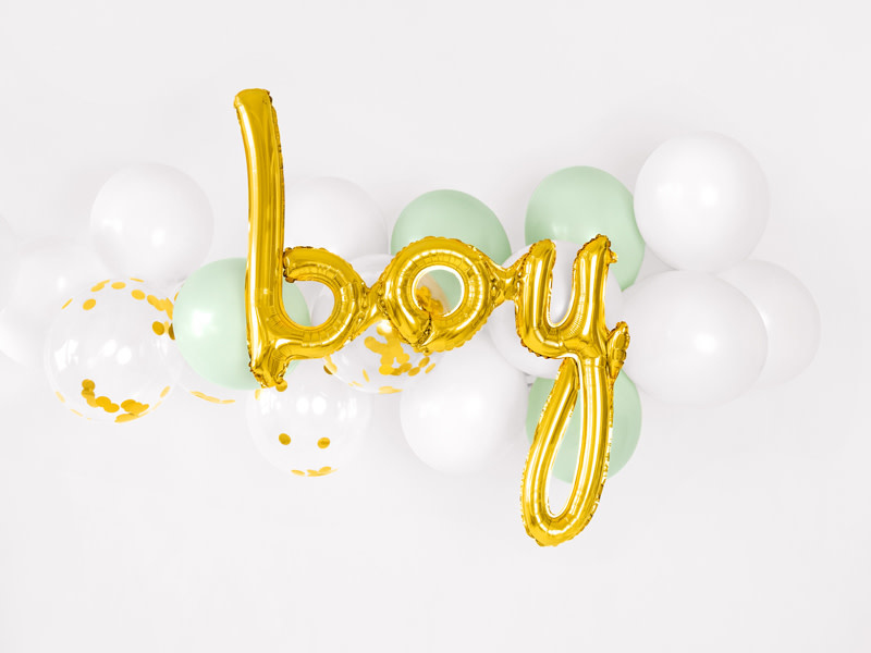 PD Foil balloon Boy, gold, 63.5x74cm