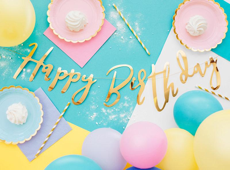 PD Banner Happy Birthday, gold, 16.5x62cm
