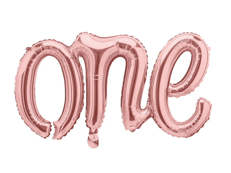 PD Foil Balloon One, 66x37cm, rose gold