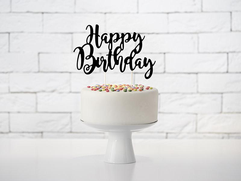 PD Cake topper Happy Birthday, black, 22.5cm