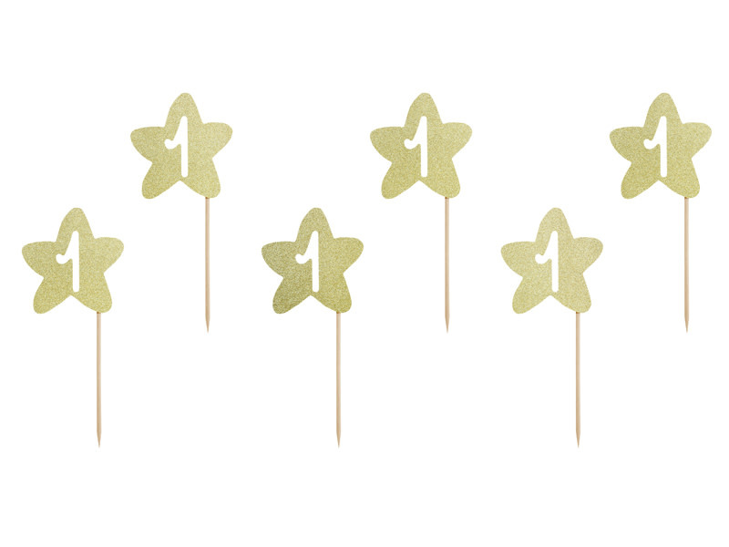 PD Cupcake toppers 1st Birthday, gold (1 pkt / 6 pc.)