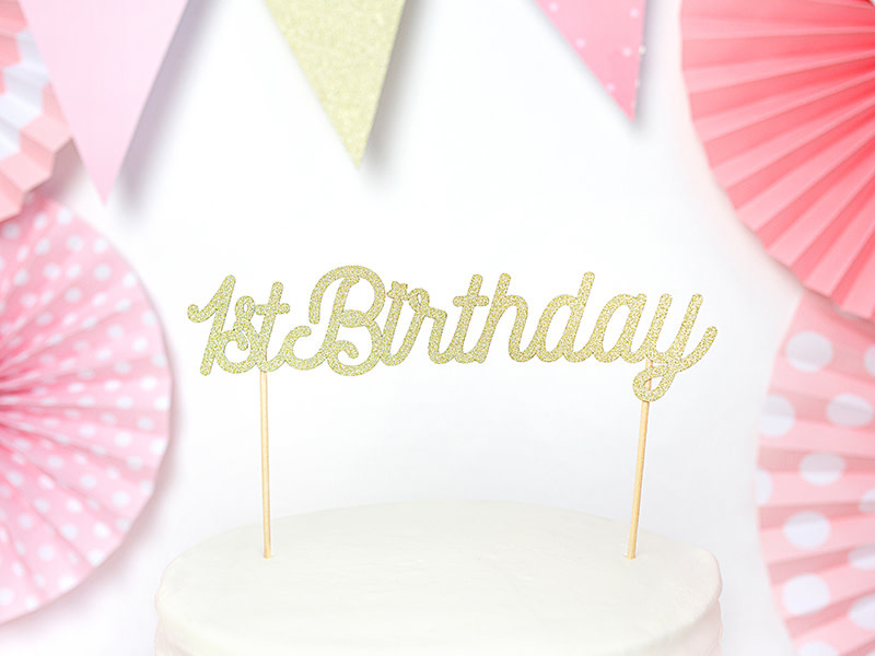 PD Cake topper 1st Birthday, gold