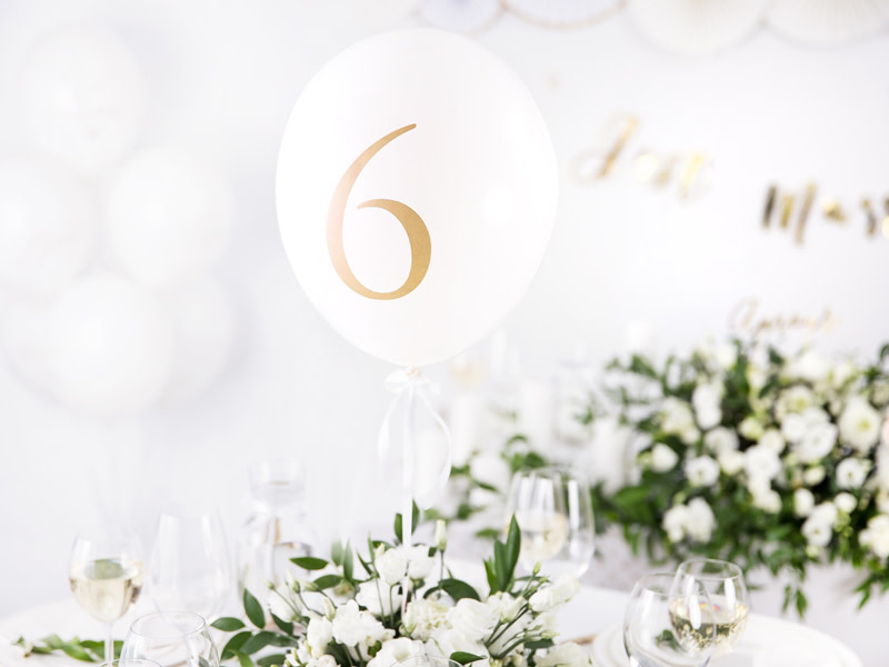 PD Balloons 30cm, Numbers, mix, Pastel Pure White (1 pkt / 10 pc.)