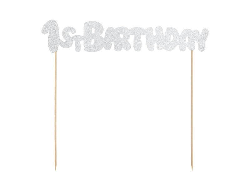 PD Cake topper 1st Birthday, silver