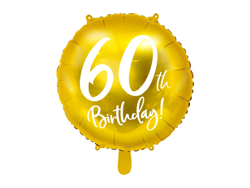PD Foil Balloon 60th Birthday, gold, 45 cm