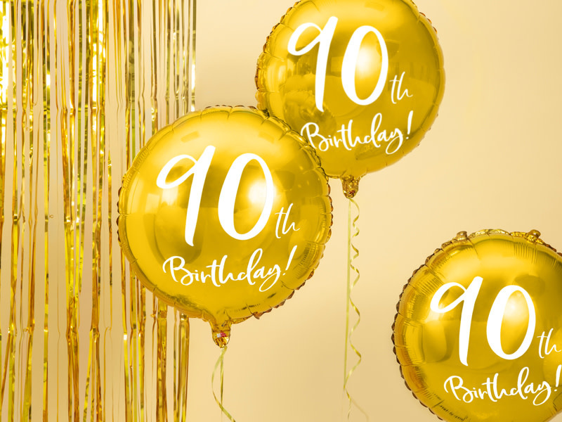 PD Foil Balloon 90th Birthday, gold, 45cm