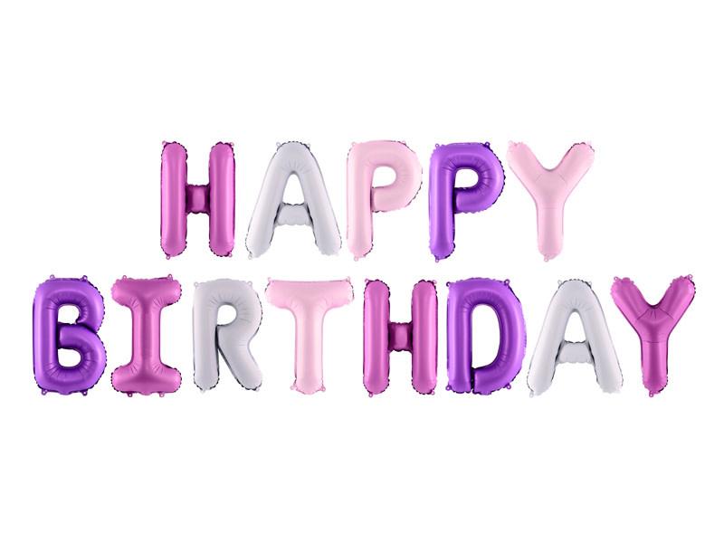 PD Foil Balloon Happy Birthday, 340x35cm, mix