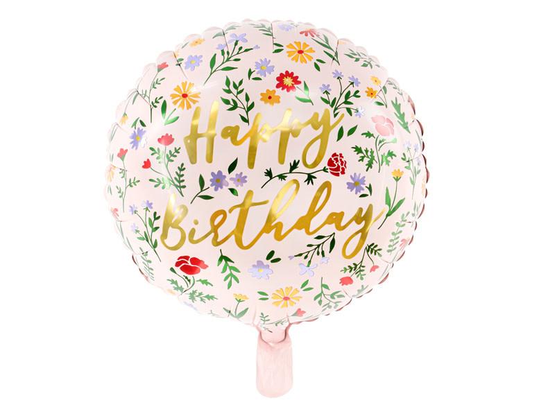 PD Foil balloon Happy Birthday, 35cm, light pink
