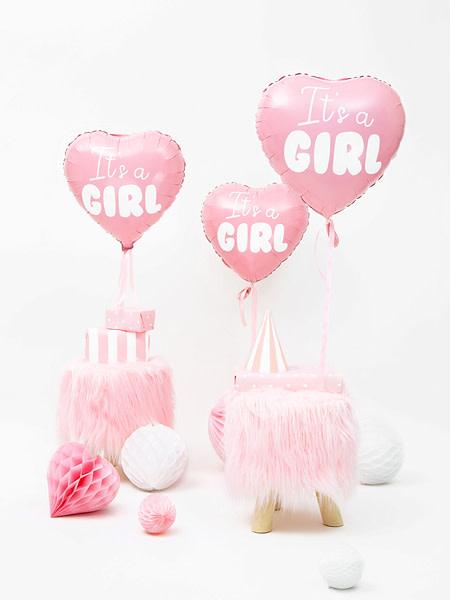 PD Foil Balloon Heart - It's a girl, 45cm, light pink