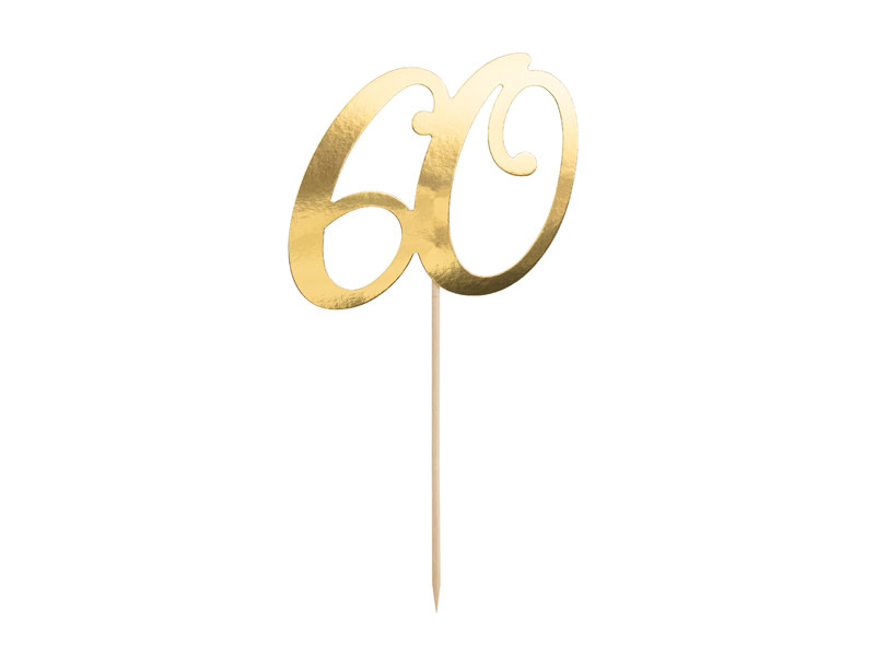 PD Cake topper ''60'', gold, 21cm