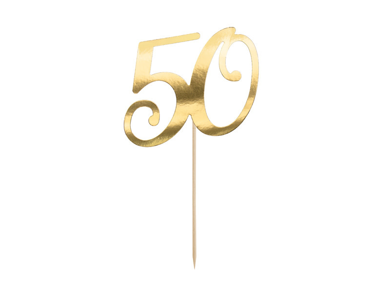 PD Cake topper ''50'', gold, 20.5cm