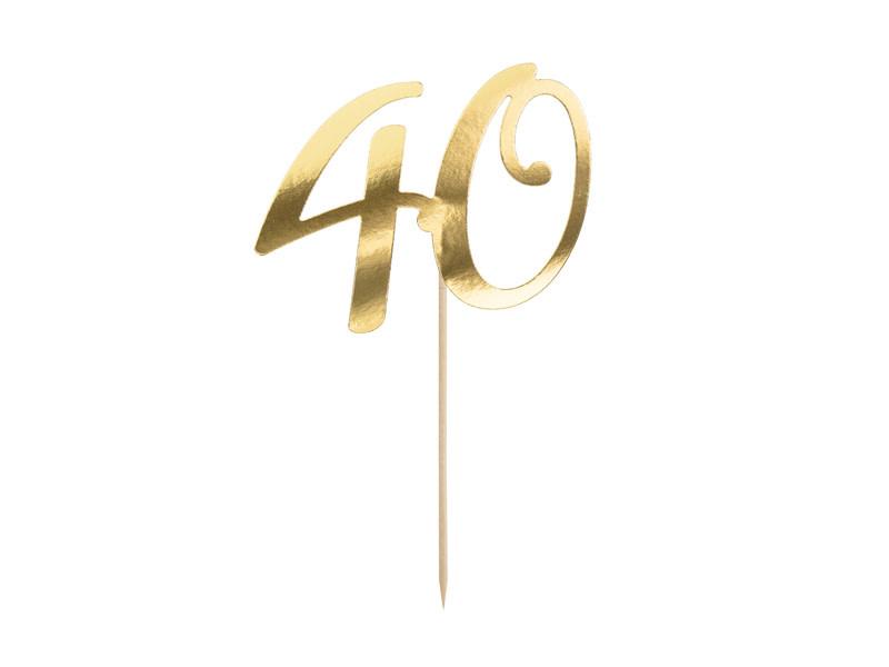 PD Cake topper ''40'', gold, 20.5cm