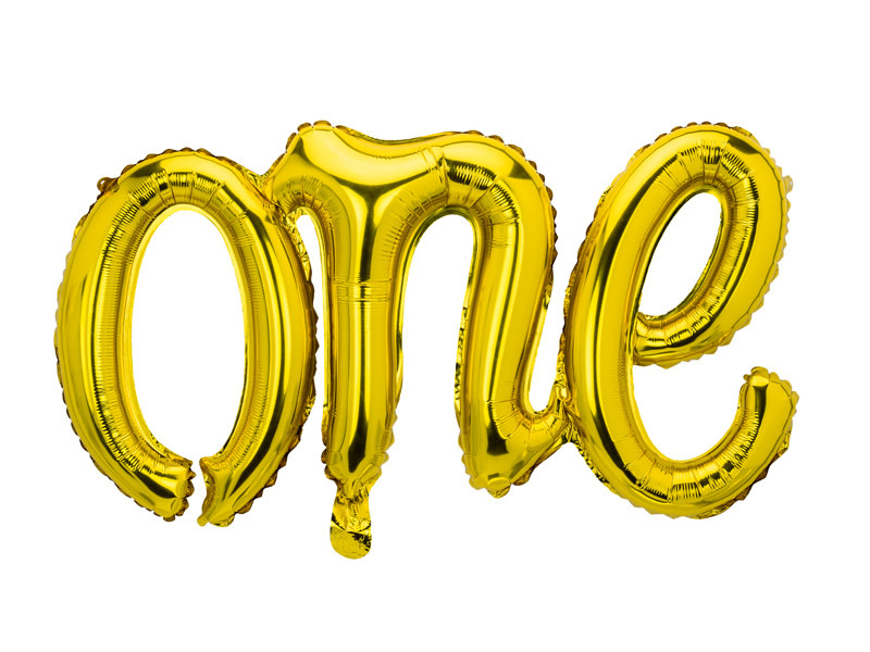 PD Foil balloon One, 66x37cm, gold