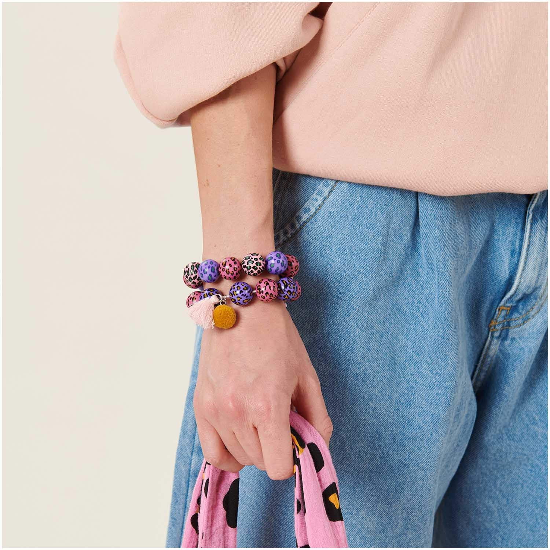 Rico NAY Acid Leo beads, rose, 6 pcs, Ø 16 mm, 2 mm hole