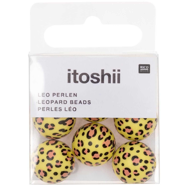 Rico NAY Acid Leo beads, yellow, 6 pcs, Ø 16 mm, 2 mm hole