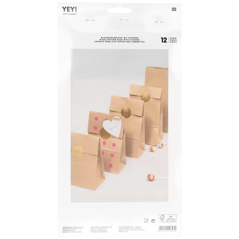Rico NAY Block bottom bag brown, big, , 12 pcs, 150 mm x 300 mm x 80 mm FSC MIX