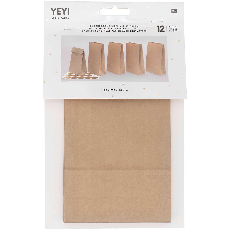 Rico NAY Block bottom bag brown, small, 12 pcs, 120 mm x 210 mm x 60 mm FSC MIX