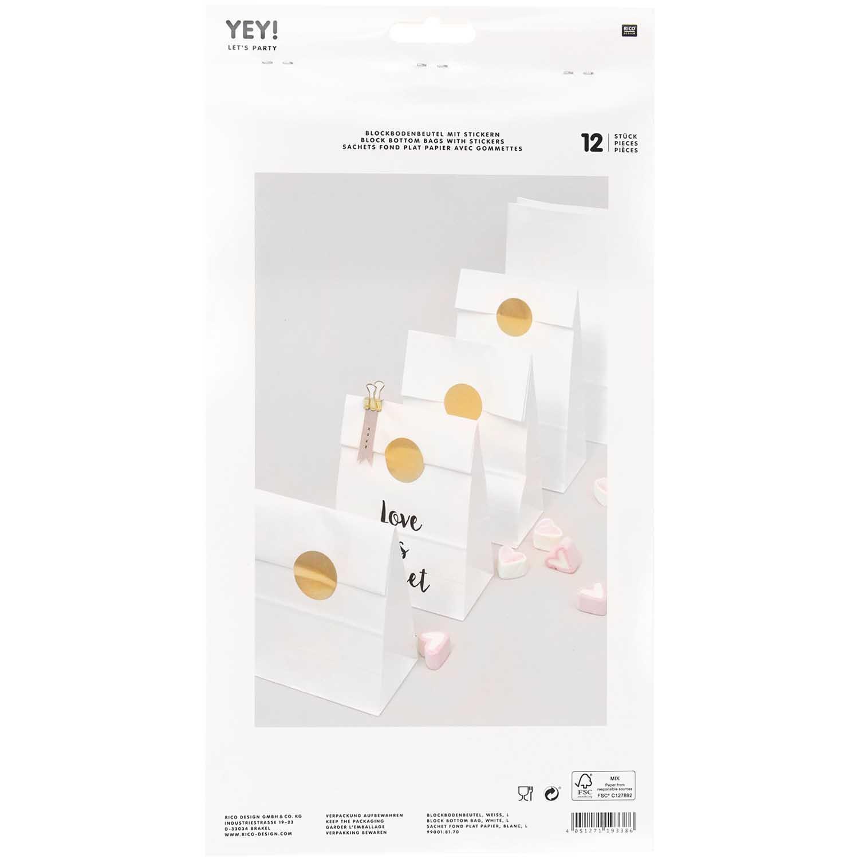 Rico NAY Block bottom bag white, big , 12 pcs, 150 mm x 300 mm x 80 mm FSC MIX