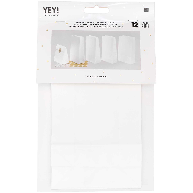 Rico NAY Block bottom bag white, small , 12 pcs, 120 mm x 210 mm x 60 mm FSC MIX