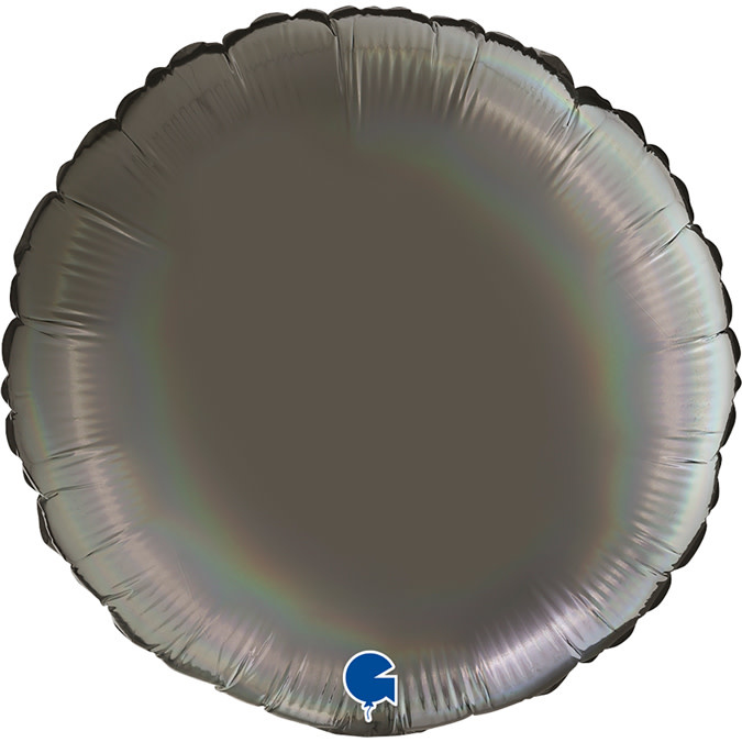 SMP circle foil balloon holographic platinum grey 45 cm