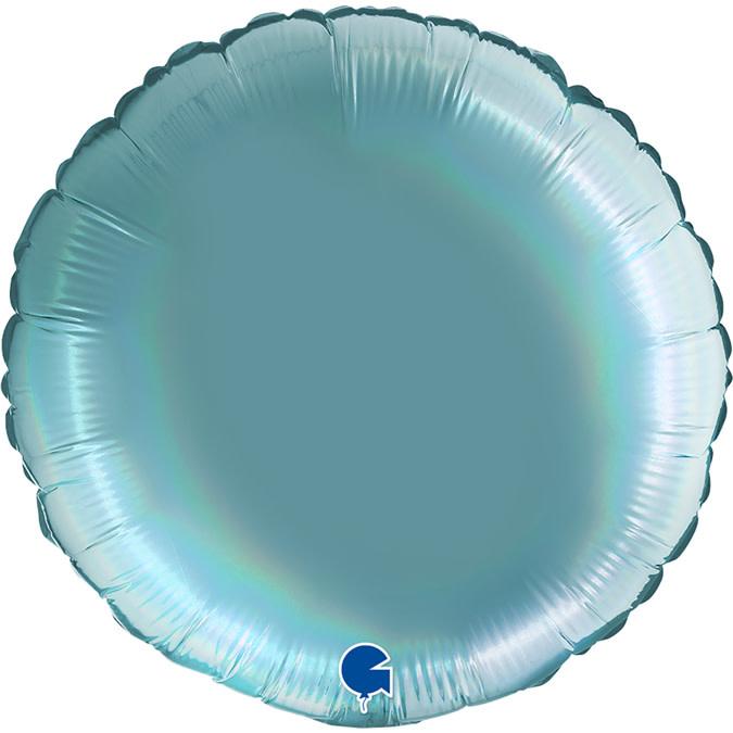 SMP circle foil balloon holographic platinum mint 45 cm