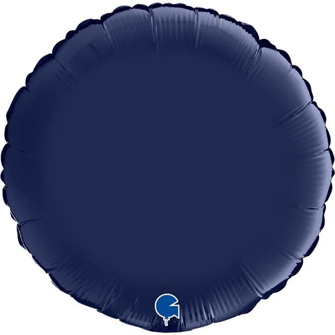 SMP circle foil balloon satin navy blue 90 cm