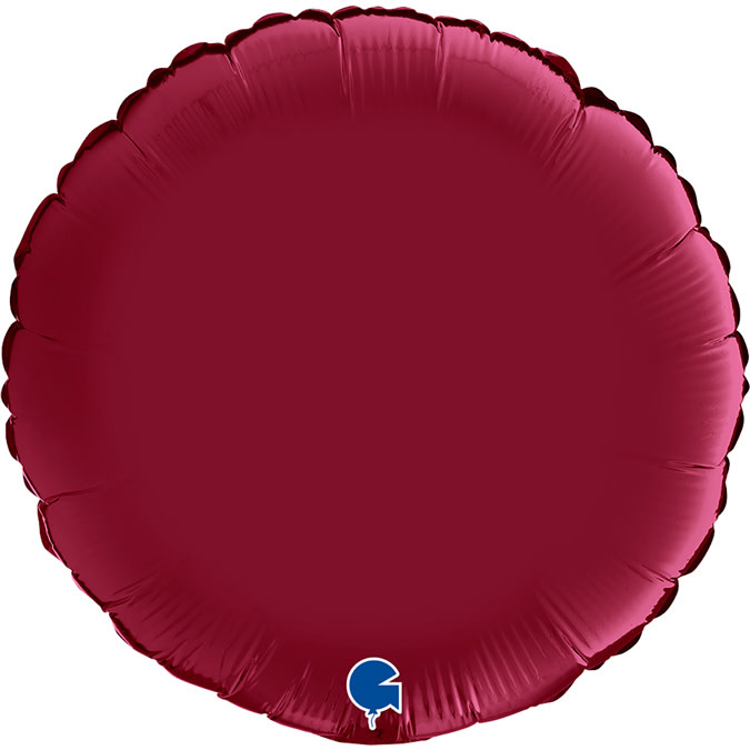 SMP circle foil balloon satin cherry red 90 cm