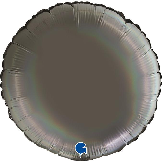 SMP circle foil balloon holographic platinum grey 90 cm