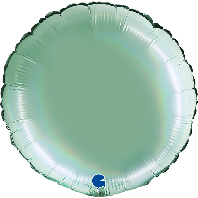 SMP circle foil balloon holographic platinum mint 90 cm