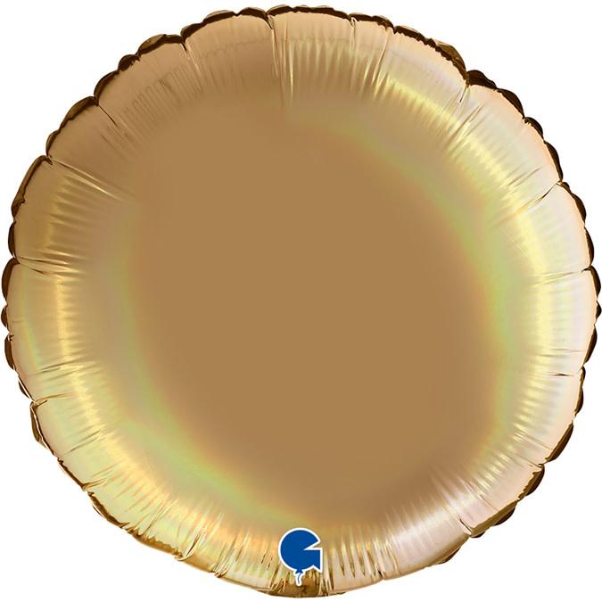 SMP circle foil balloon holographic platinum champagne 90 cm