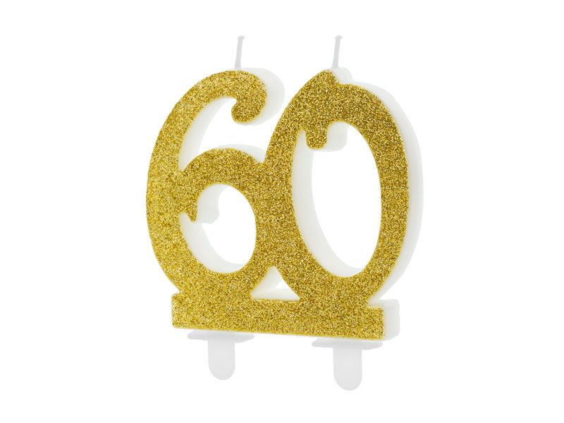 PD Birthday candle Number 60, gold, 7.5cm