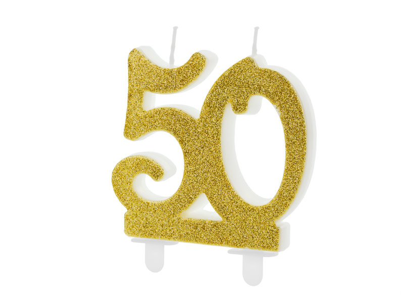 PD Birthday candle Number 50, gold, 7.5cm