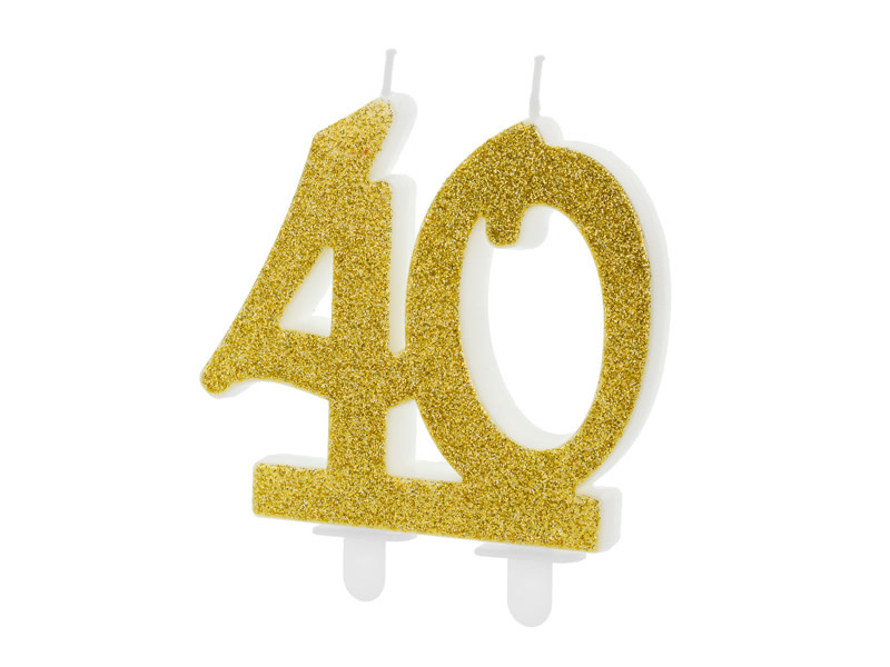 PD Birthday candle Number 40, gold, 7.5cm